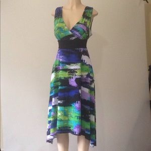 AGB multicolor high low sleeveless dress 14